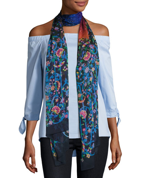 Midnight Constellation Floral Silk Scarf, Dark Blue
