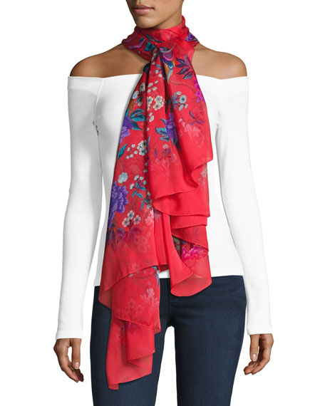 Liberty London Elysian Paradise Floral Silk Scarf, Red