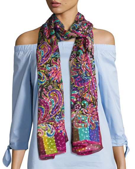 Liberty London Phoenix Paisley Voile Scarf, Black/Multicolor