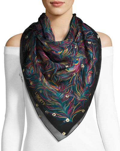 Orion Silk Feather Scarf, Black