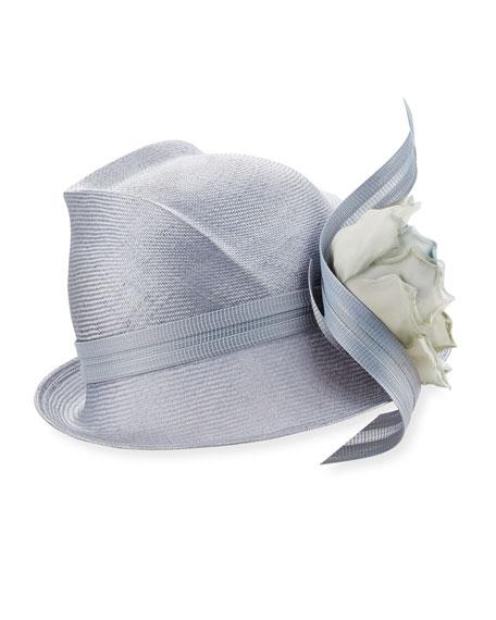 Script Crown Short-Brim Hat, Medium Blue