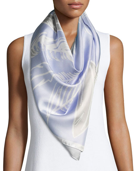 Silk Satin Square Feather Scarf, Blue