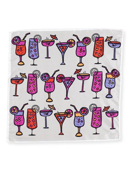Mini Square Silk Twill Cocktail Scarf, Pink/White/Multicolor