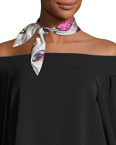 Mini Square Silk Twill Cocktail Scarf, Pink/White/Multicolor
