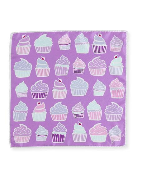 Mini Square Silk Twill Cupcake Scarf, Lilac