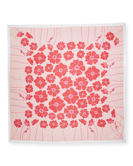 Silk Chiffon Square Poppy Scarf, Red