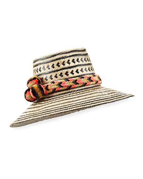 Guajiro Patterned Mawisa Sun Hat, Black/Natural