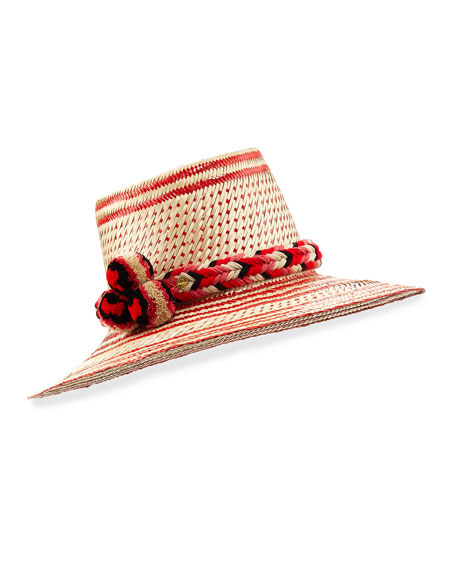 Guajiro Patterned Mawisa Sun Hat, Red/Natural