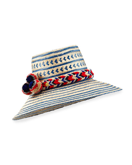 Guajiro Patterned Mawisa Sun Hat, Blue/Natural