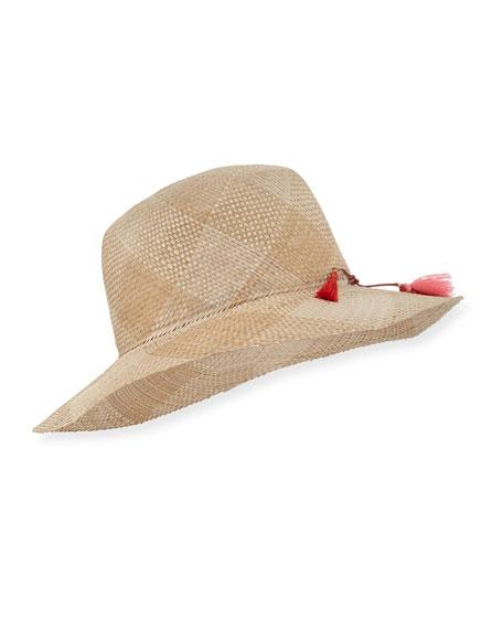 Labiche Hand-Woven Check Sun Hat, Light Beige
