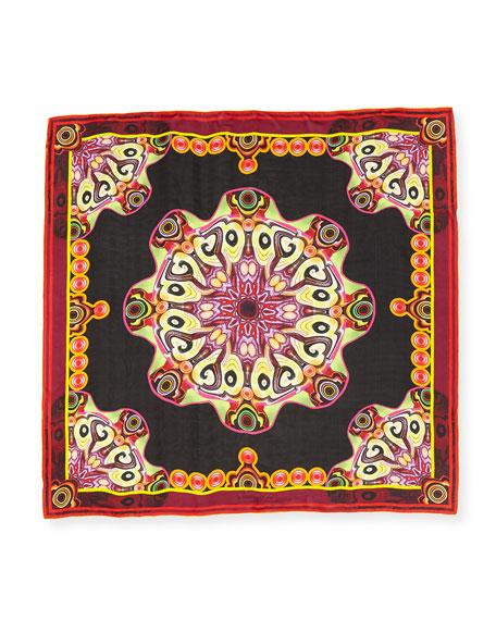 Silk Chiffon Wheel Scarf, Black/Multicolor