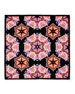 Square Silk Twill Kaleidoscope Scarf, Black/Multicolor
