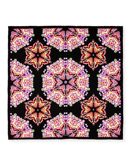 Square Silk Twill Kaleidoscope Scarf, Black/Multicolor