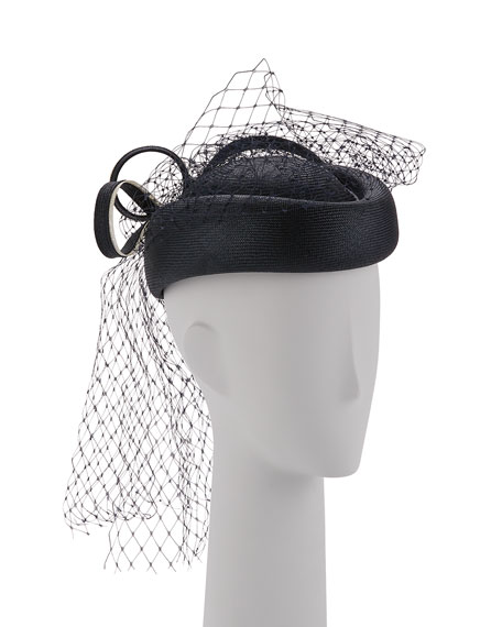 Veiled Pillbox Hat, Navy
