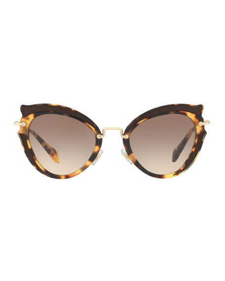 Gradient Cat-Eye Sunglasses, Havana
