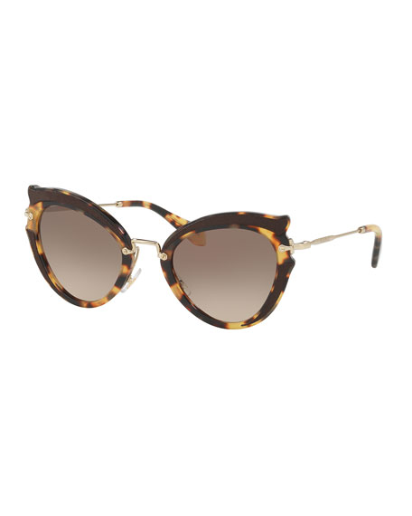 Miu Miu Gradient Cat-Eye Sunglasses, Havana