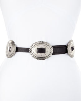 Flat Leather Belt w/ Conchos Harness Buckle