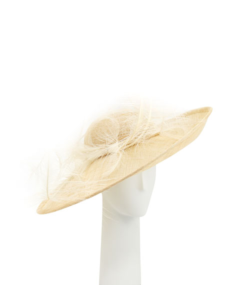 Straw Sidesweep Hat w/ Feathers, Beige
