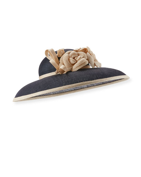 Straw Bell Hat w/ Camellias, Navy
