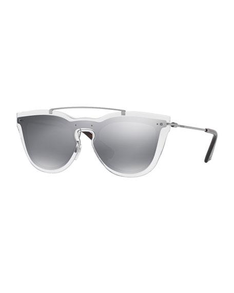 Valentino Glamgloss Mirrored Shield Sunglasses