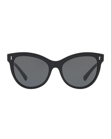 Rockstud Rivet Monochromatic Cat-Eye Sunglasses