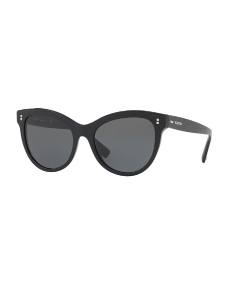 Rockstud Rivet Monochromatic Cat-Eye Sunglasses