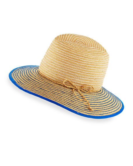 Starburst Raffia Short-Brim Sun Hat, White/Blue/Neutral