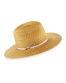 Wrapped Up Straw Fedora Hat, Beige