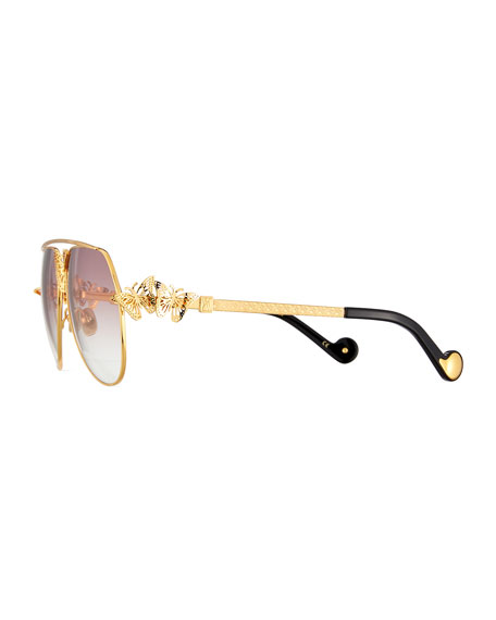 Miss Rosell Butterfly Aviator Sunglasses, 24k Gold Plate
