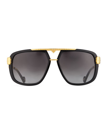 Paws Up Flat-Top Sunglasses, Black/24k Gold Plate