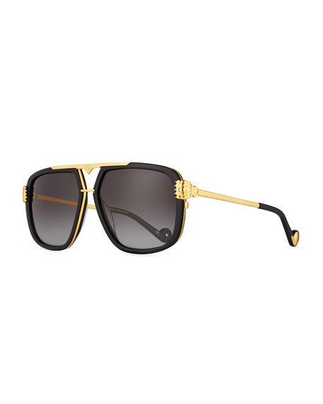 Anna-Karin Karlsson Paws Up Flat-Top Sunglasses, Black/24k Gold