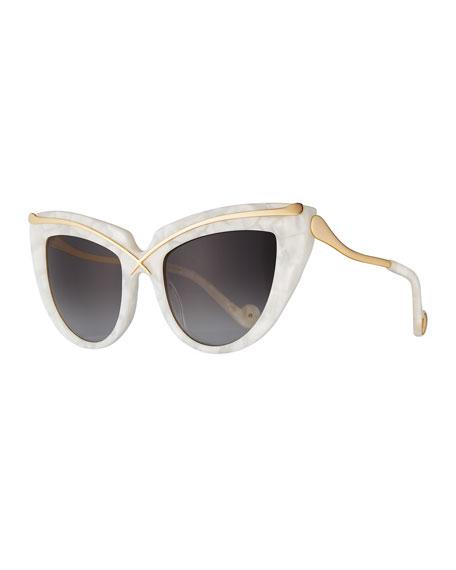 Lusciousness Cat-Eye Sunglasses, Pearl