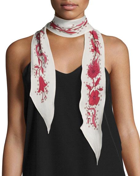 Desert Trip Super Skinny Silk Scarf, White