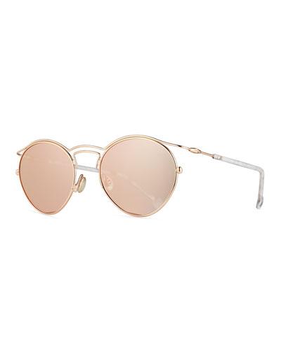 DiorOrigins1 Round Geometric Sunglasses, Brown Tortoise