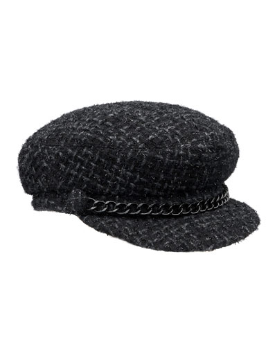 Marina Tweed Newsboy Hat, Black