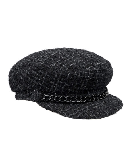 Eugenia Kim Marina Tweed Newsboy Hat, Black