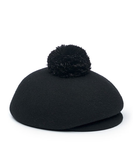 Eugenia Kim Ogden Wool Newsboy Hat, Black
