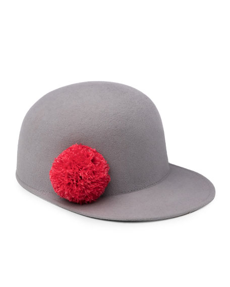 Bo Wool Felt Baseball Hat, Light Gray