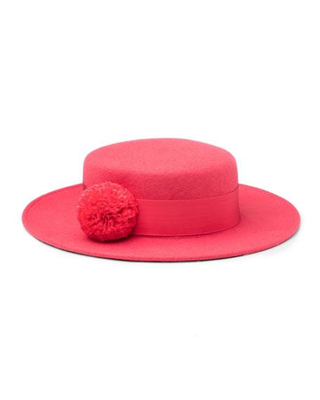 Eugenia Kim Brigitte Wool Felt Boater Hat, Pink
