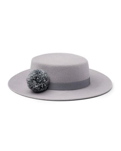 Brigitte Wool Felt Boater Hat, Gray