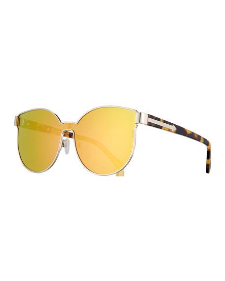 Karen Walker Star Sailor Mirrored Sunglasses, Yellow/Crazy