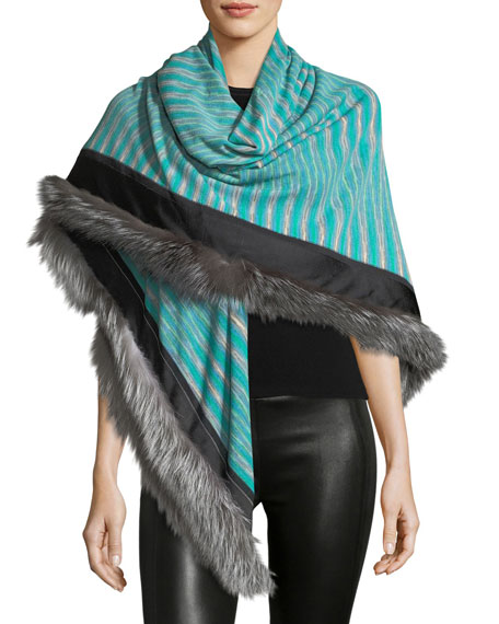 Fur-Trim Striped Stole