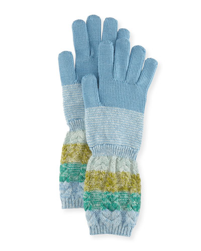 Striped Wool/Mohair Knit Gloves