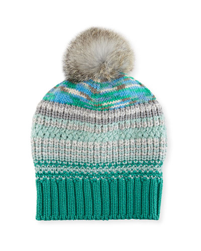 Striped Beanie Hat w/ Fur Pompom