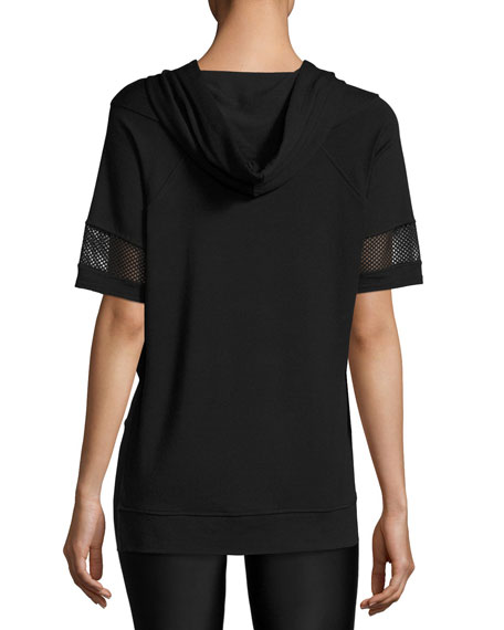 French Terry Hooded Poncho, Black