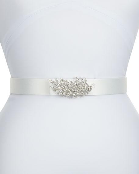 Deborah Drattell Lolette Satin Crystal Belt, Ivory