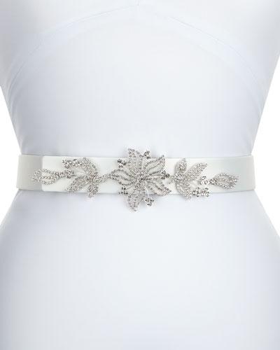 Carolina Satin Crystal Belt, White