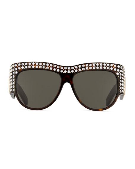 71bd1ba7465 Gucci Chunky Swarovski® Wrap Sunglasses