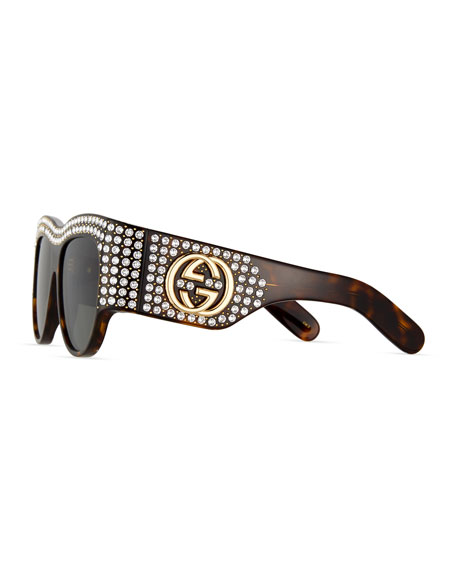 Chunky Swarovski® Wrap Sunglasses, Brown Havana