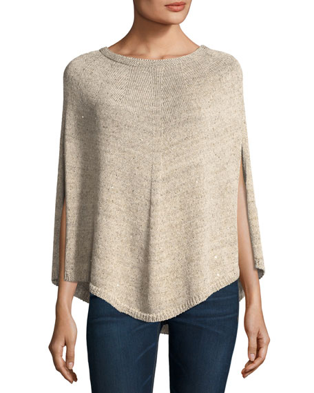 Sequined Linen/Cotton Knit Curved-Hem Poncho